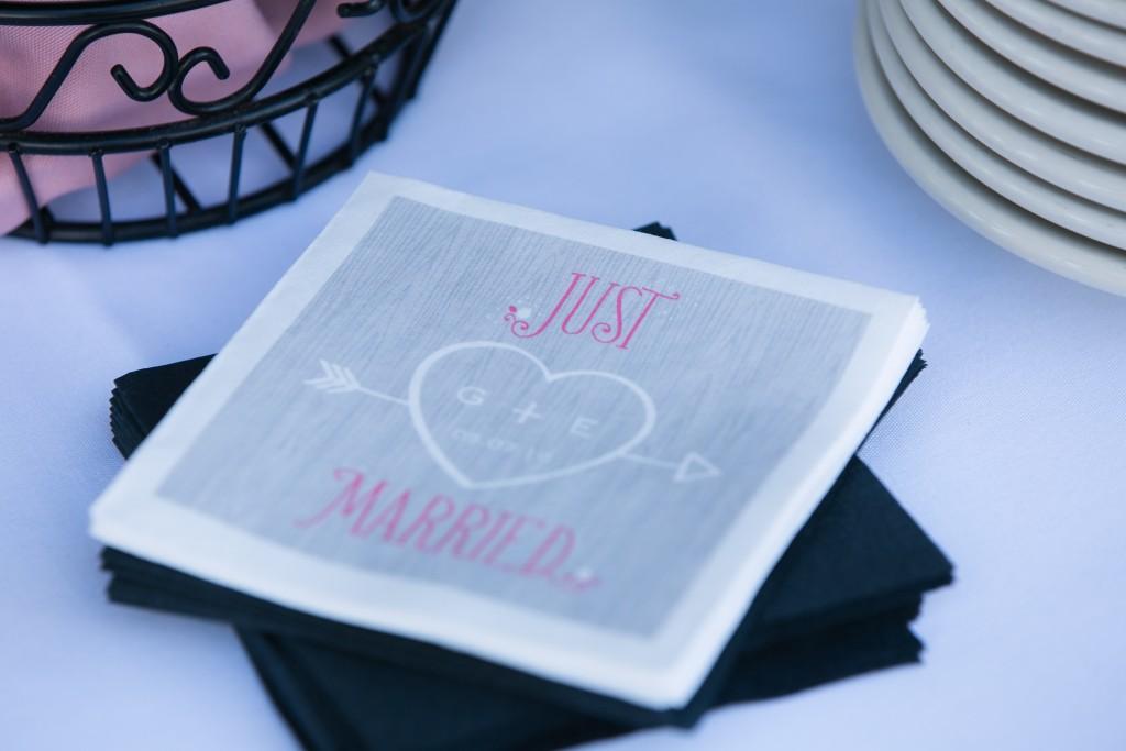Wedgewood Weddings 'just married' cocktail napkins