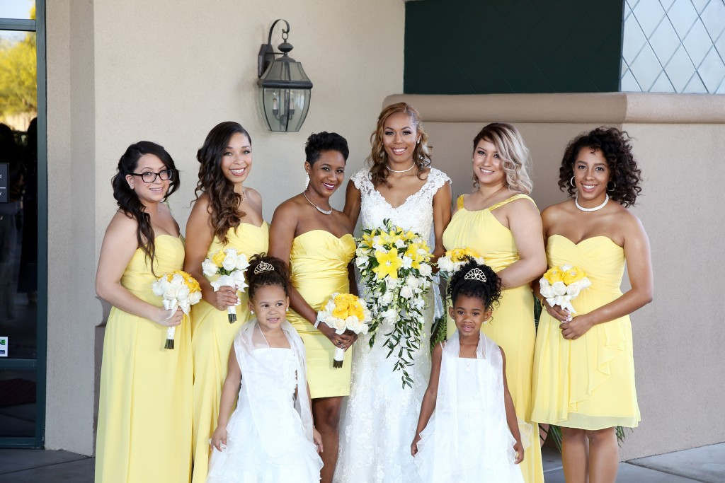 palm valley wedding bridal party bride flower girls