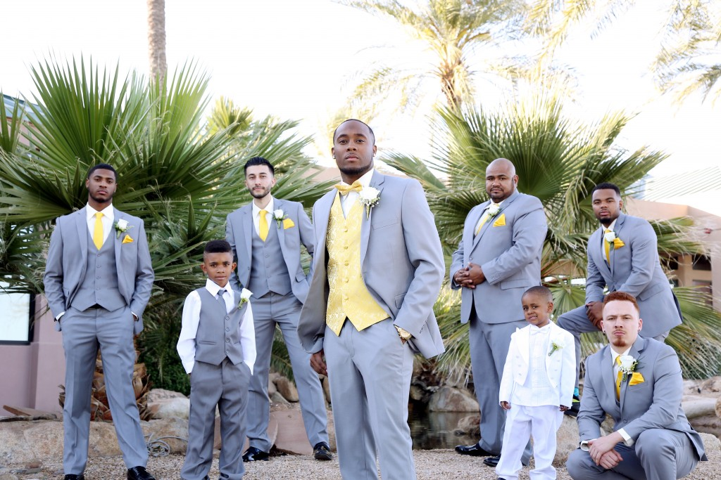 groom and groomsmen in suit