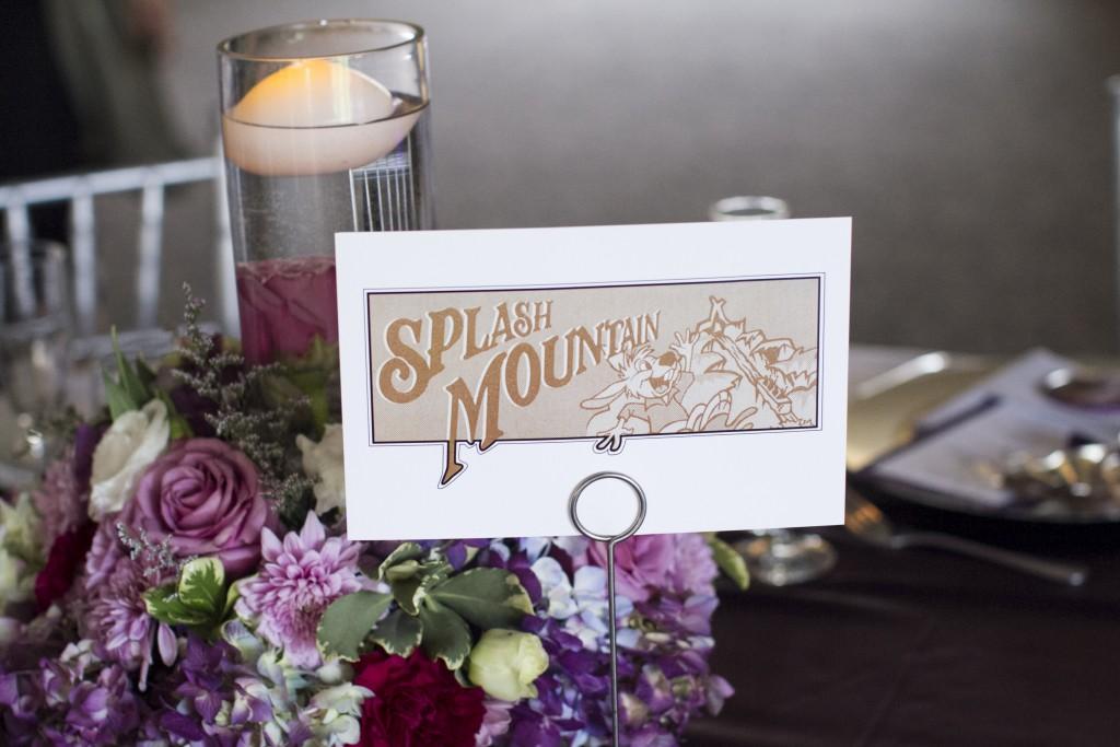 Disney theme wedding table numbers splash mountain