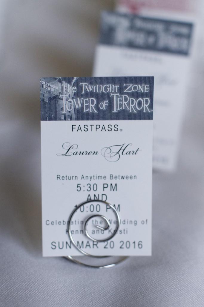 Disney themed wedding fastpass Tower of Terror