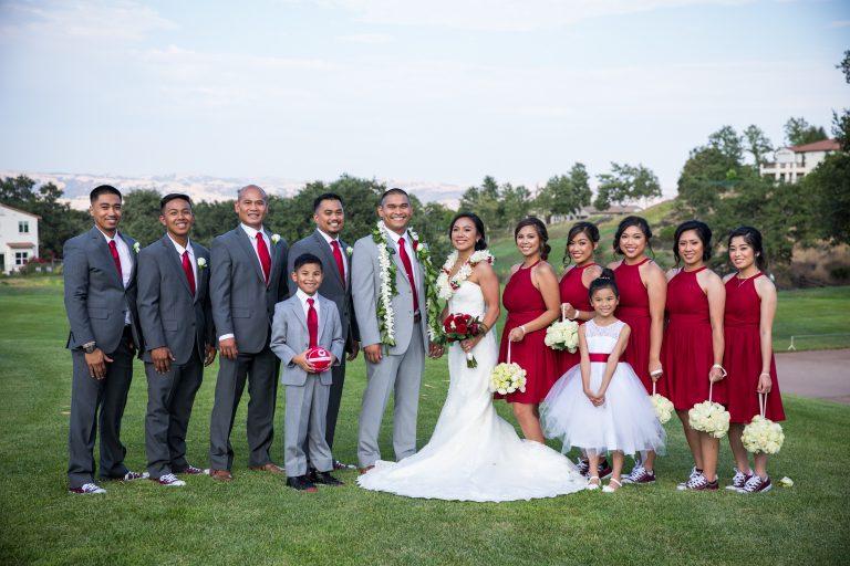 eagle ridge sports themed wedding party