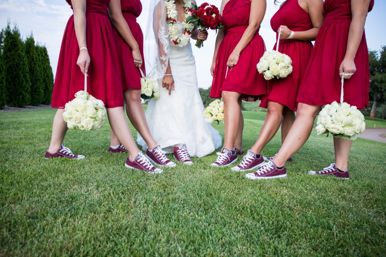 eagle ridge sports themed wedding bridesmaids shoes