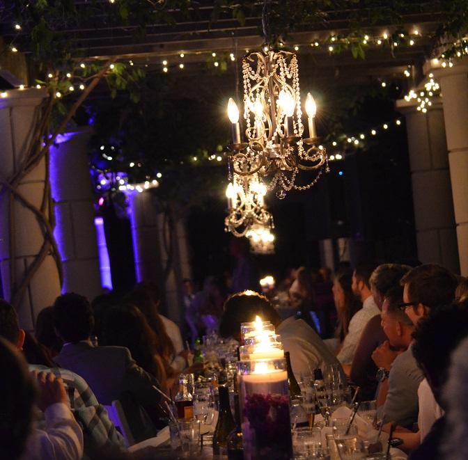 beautiful lit wedding reception dinner