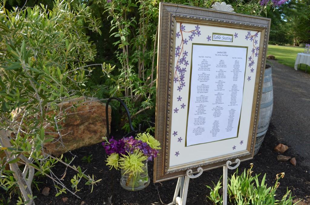 wedding seat display in frame at Wedgewood Weddings