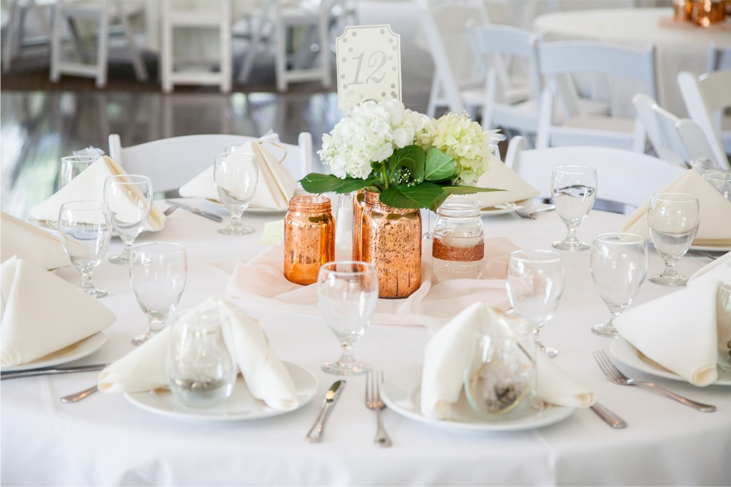 beautiful white reception table settings