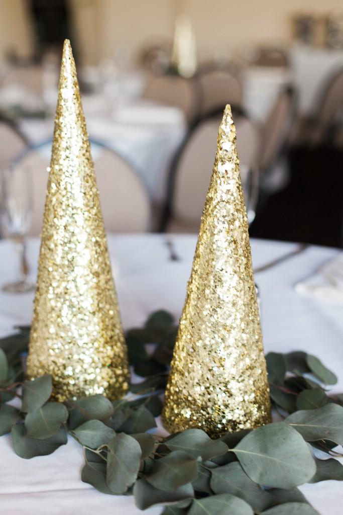 winter wedding decor glitter cone at Wedgewood Weddings