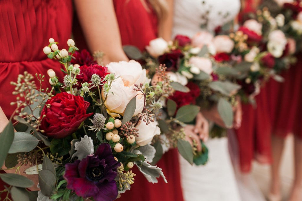 beautiful red flower bouquet at Wedgewood Weddings