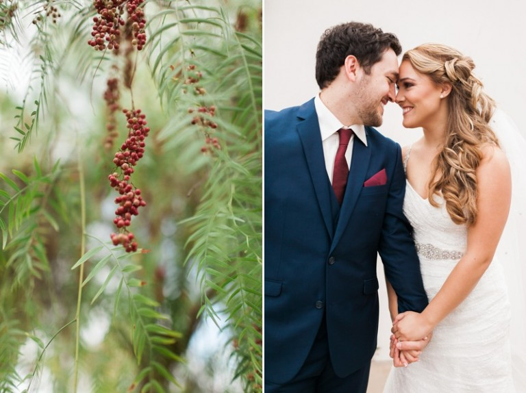 beautiful bride and groom with gorgeous greenery