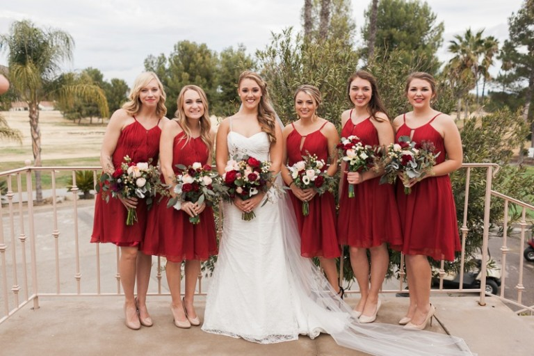 bride with beautiful bridesmainds