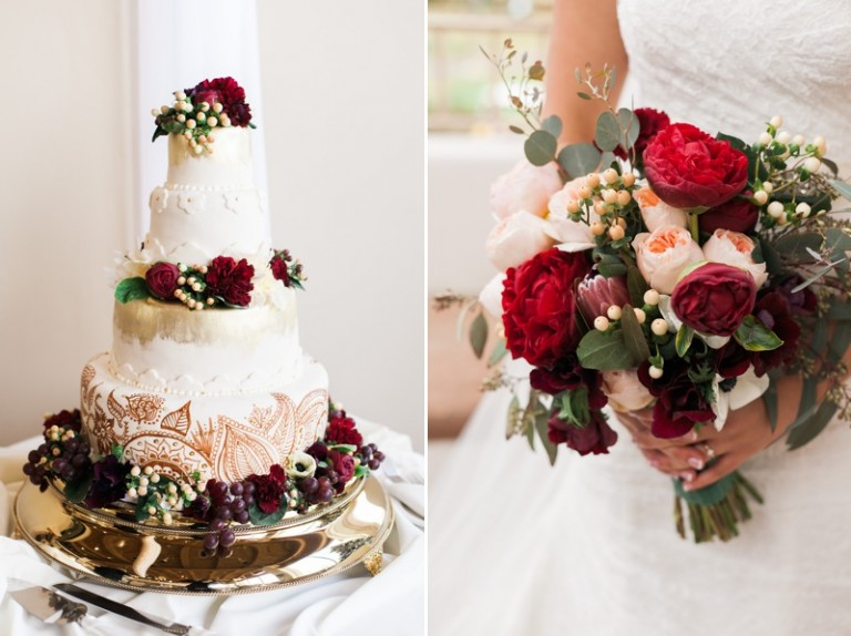 beautiful wedding cake with red floral and red bouquet of flowers