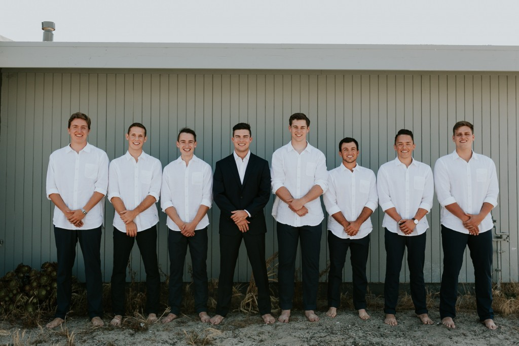 barefoot groomsmen ventura beach wedding
