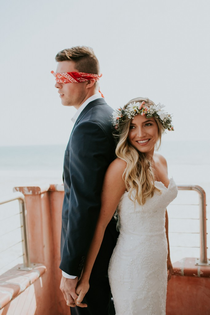 gorgeous bride beach wedding ventura california