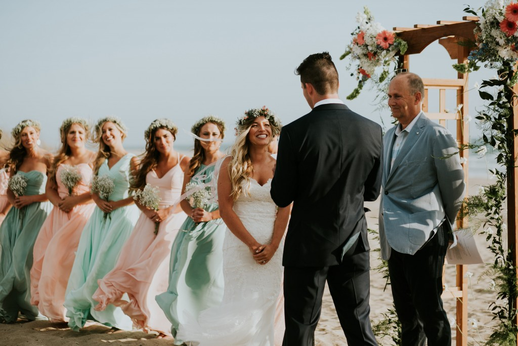 beach wedding bride groom bridal party turquoise and blush