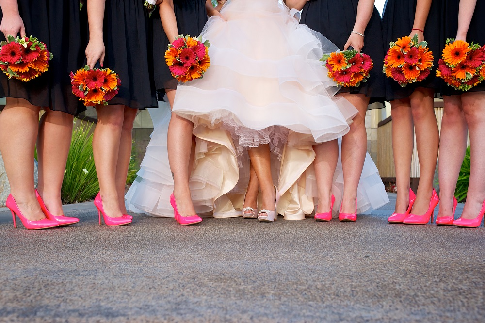 hot pink bridesmaid wedding shoes