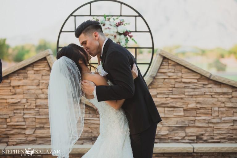 wedgewood weddings las vegas bride and groom kissing