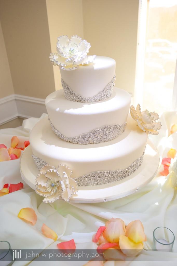 beautiful white sparkle wedding cake