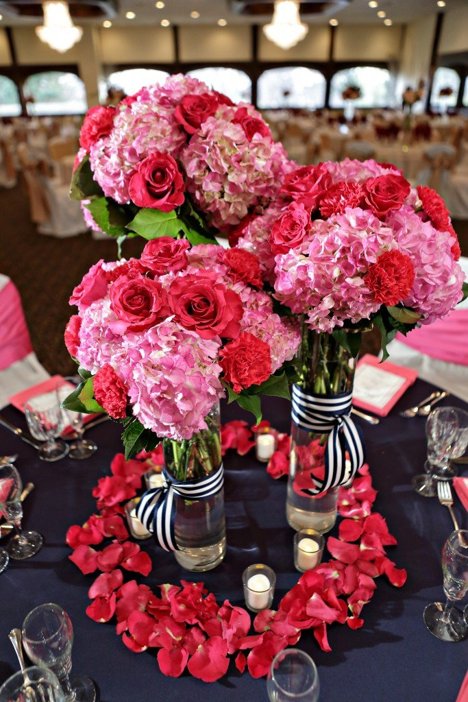 wedgewood weddings hot pink and navy blue table setting