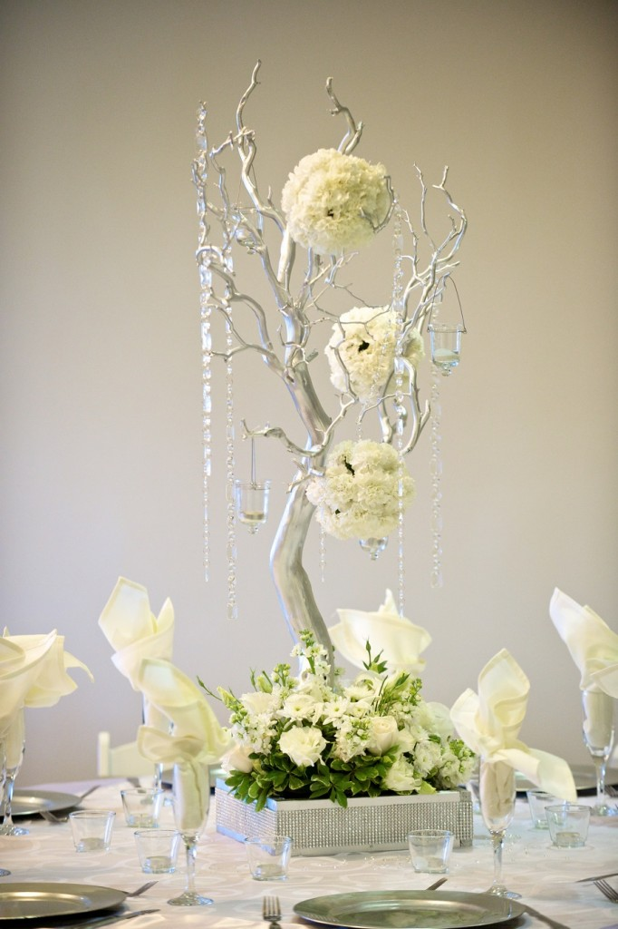 winter wedding tree centerpiece silver at Wedgewood Weddings