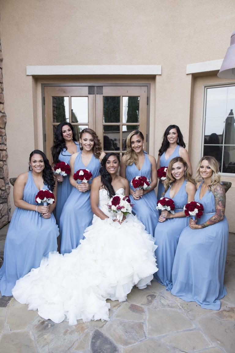blue red wedding color scheme bridal party