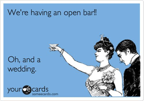 funny wedding open bar meme