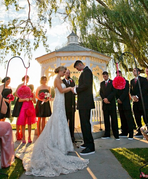 red black Wedgewood Weddings ceremony