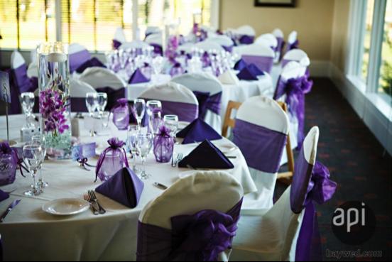 purple white table linens
