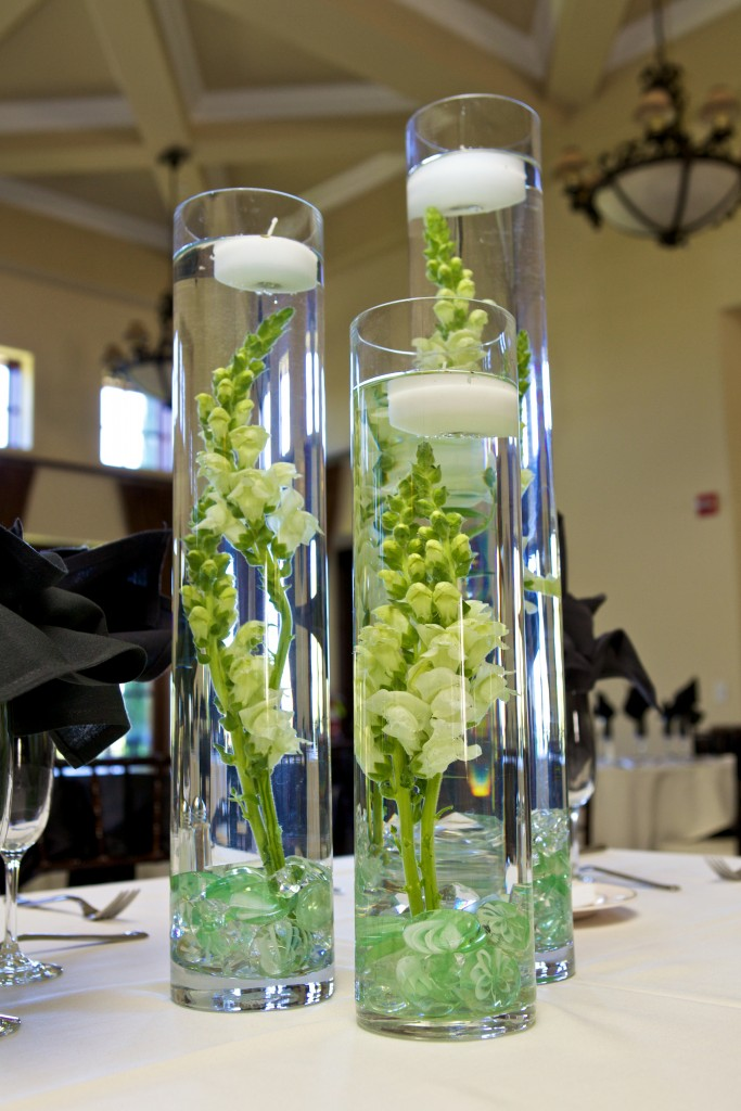 wedding reception centerpiece of floating candles