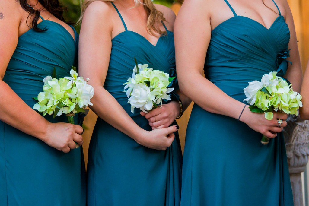 turquoise wedding color scheme bridal party