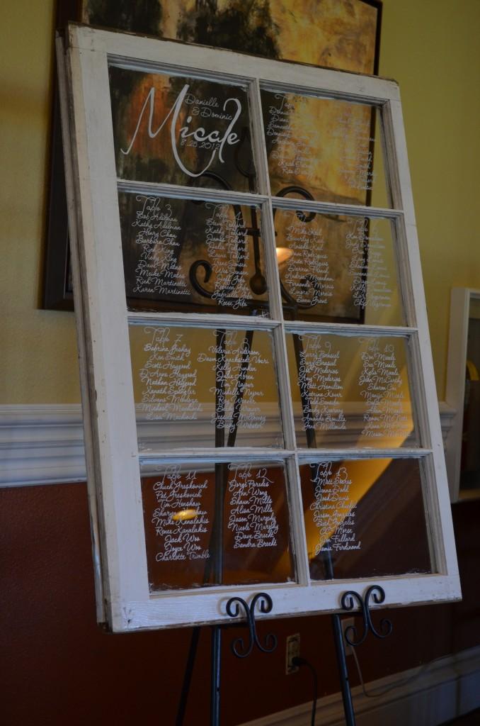 window pane seating chart at Wedgewood Weddings