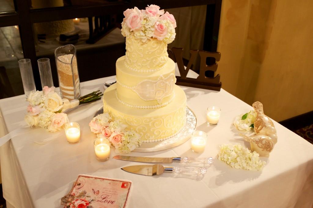 yellow and pink wedding cake at Wedgewood Weddings