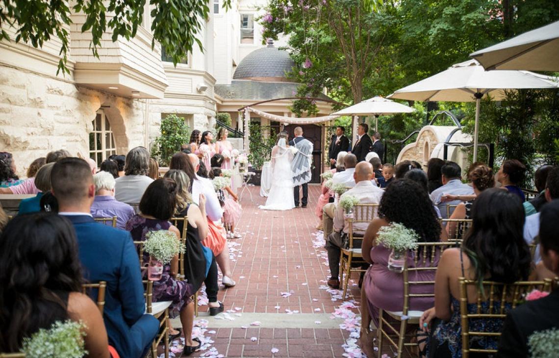 Patio ceremony for intimate weddings - Sterling Hotel - Sacramento, California - Sacramento County - Wedgewood Weddings