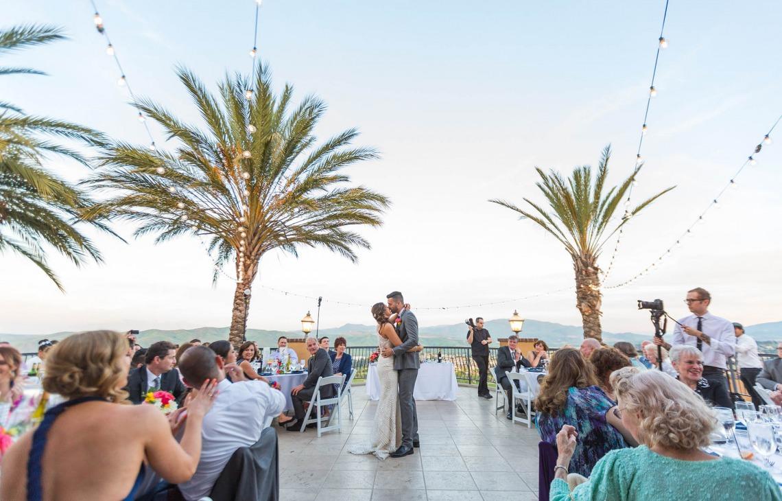 Outdoor terrace reception - The Retreat - Corona, California - Riverside County - Wedgewood Weddings
