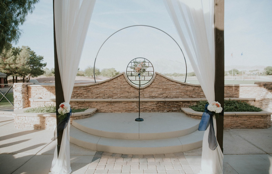 Shaded ceremony terrace - Las Vegas - Las Vegas, Nevada - Clark County - Wedgewood Weddings