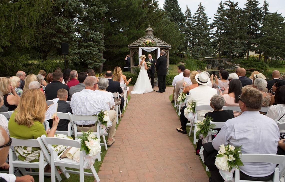Wedding ceremony at the garden gazebo - North Shore - Wadsworth, Illinois - Lake County - Wedgewood Weddings