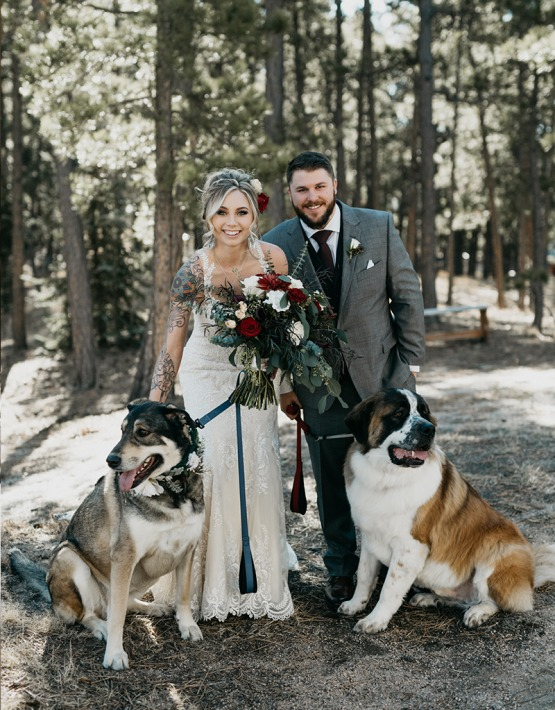 Newlyweds with their adorable dogs - Black Forest - Colorado Springs, Colorado - El Paso County - Wedgewood Weddings