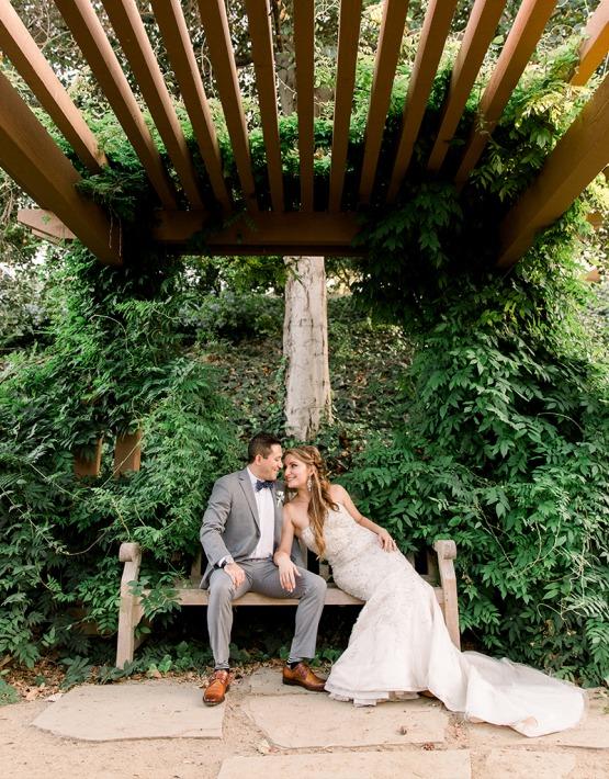 Couple sitting on bench - University Club - Irvine, California - Orange County - Wedgewood Weddings