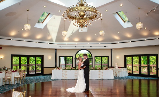 Stunning ballroom with vaulted ceiling and plenty of natural light