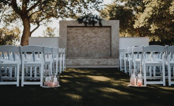 Wedding ceremony at the waterfall feature - Lindsay Grove - Mesa, Arizona - Maricopa County - Wedgewood Weddings