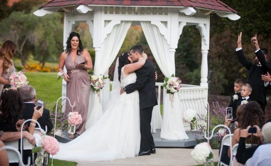 Garden ceremony with traditional gazebo - Carmel - Carmel, California - Monterey County - Wedgewood Weddings