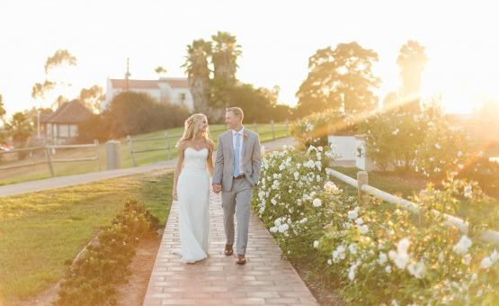 Couple walking at sunset - San Clemente - San Clemente, California - Orange County - Wedgewood Weddings