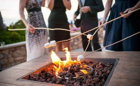 Outdoor fire pit for cold nights or s'mores - Boulder Ridge - Los Gatos, California - San Jose, California - Santa Clara County - Wedgewood Weddings