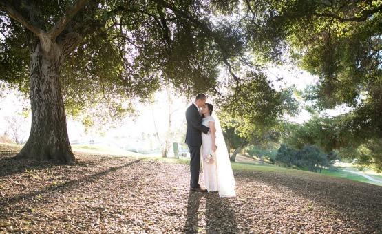 Bride and Groom with lush trees - Sierra La Verne - La Verne, California - Claremont Area - Los Angeles County - Wedgewood Weddings