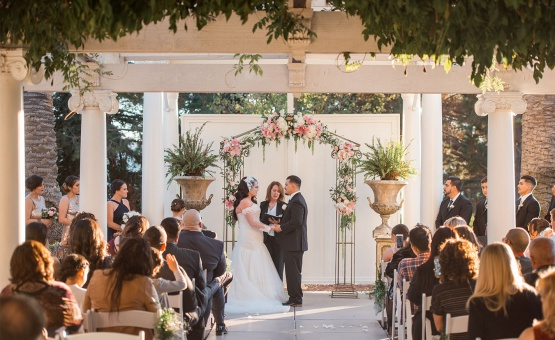 Shaded ceremony - Jefferson Street Mansion - Benicia, California - Solano County - Wedgewood Weddings