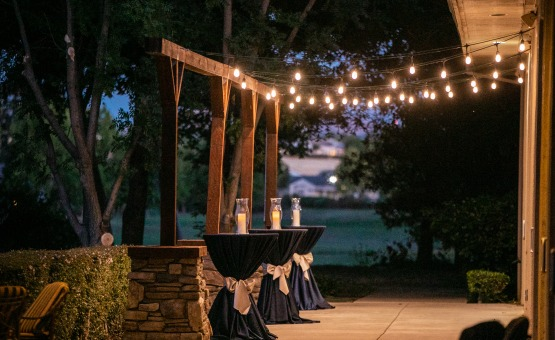 Romantic cocktail patio with bistro lights.