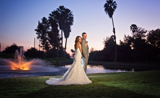 Gorgeous lit fountain at night - Sierra La Verne - La Verne, California - Claremont Area - Los Angeles County - Wedgewood Weddings