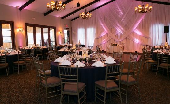 Indoor Reception Room with Market lights - San Clemente - San Clemente, California - Orange County - Wedgewood Weddings