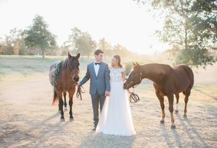 Couple with Horses - Galway Downs - Temecula, California - Riverside County - Wedgewood Weddings