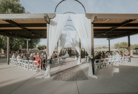 Shaded terrace ceremony site - Las Vegas - Las Vegas, Nevada - Clark County - Wedgewood Weddings