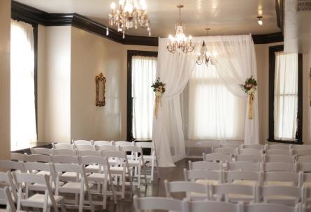 Indoor ceremony in the Chandelier Room - Sterling Hotel - Sacramento, California - Sacramento County - Wedgewood Weddings